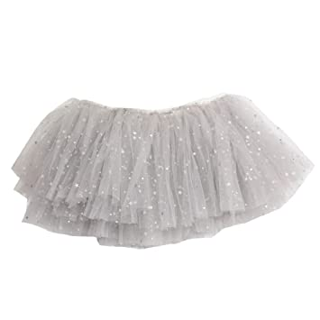 e16b6812d Falda tutú de tul gris para niñas, disfraz de fiesta para niños, ropa  brillante, falda de ballet: Amazon.es: Hogar