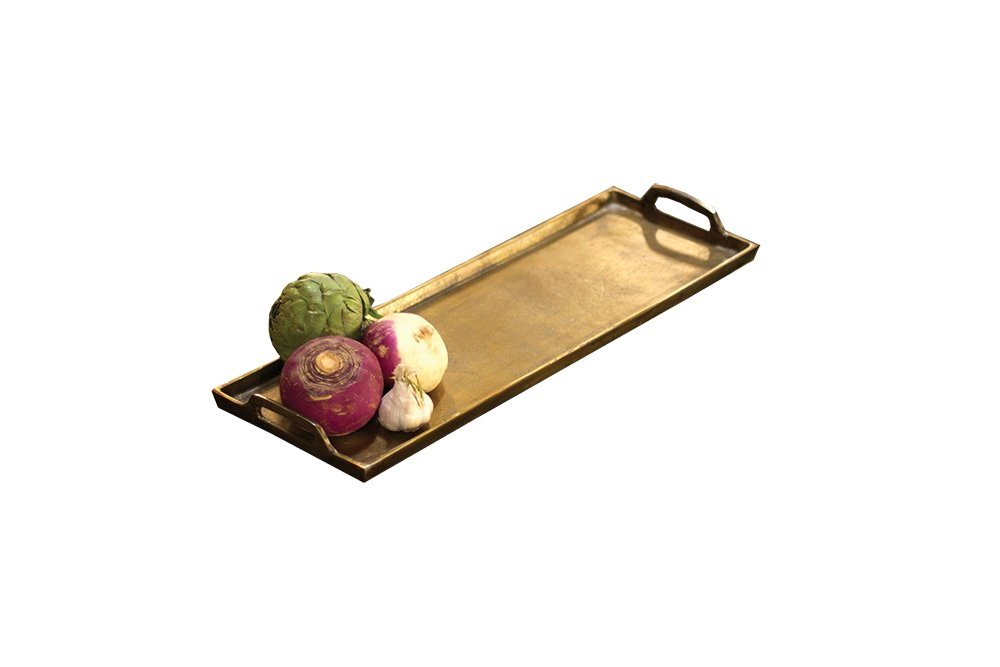 KALALOU NRS1034 ALUMINUM RECTANGLE PLATTER - ANTIQUE BRASS - GIANT by Kalalou
