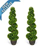 AMERIQUE Pair Gorgeous 4 Feet Wide and Dense Boxwood Spiral Topiary Artificial Trees Silk Plant with UV Protection with Decorative Pots, Feel Real Technology, Super Quality, 4' Each Green