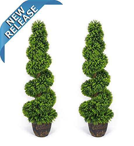 AMERIQUE Pair Gorgeous 5 Feet Wide and Dense Boxwood Spiral Topiary Artificial Trees Plant with UV Protection with Decorative Pots, Feel Real Technology, Super Quality, 5' Each Each, Green ()