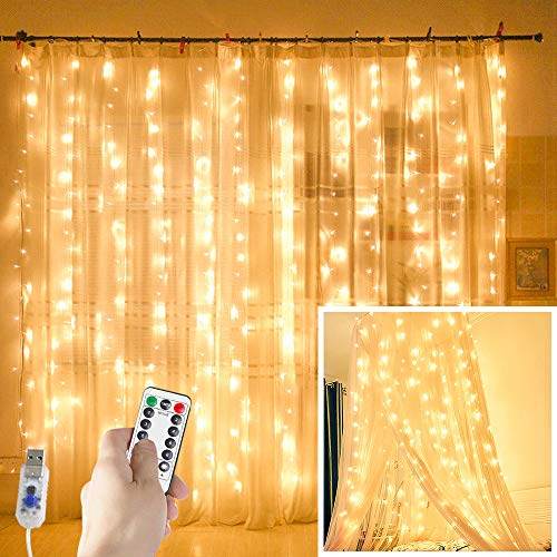 Juhefa Curtain Lights,USB Powered Fairy Lights String,IP64 Waterproof & 8 Modes Twinkle Lights for Parties, Bedroom Wedding,Valentines' Day Wall Decorations (300 LEDs,9.8x9.8Ft, Warm White) (Fairy Netting Light Indoor)