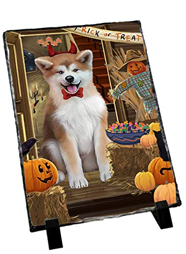 Slate Akita (Doggie of the Day Enter at Own Risk Trick or Treat Halloween Akita Dog Photo Slate SLT52932)