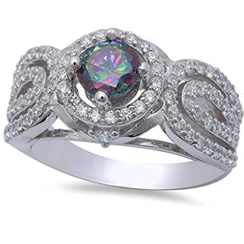 - Blue Apple Co. Antique Style Halo Engagement Ring Round Simulated Rainbow Topaz CZ 925 Sterling Silver, Size-6
