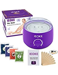 Wax Warmer, IEOKE Electric Hot Wax Melt Heater Kit For Hair Removal With Removable Pot, 4 Packs Different Flavor Hard Wax Beans & 20 Pcs Applicator Sticks