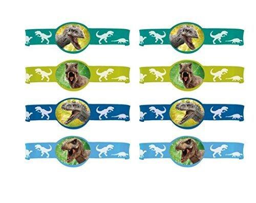 The New Jurassic World Party Bracelets ~ 8 Ct (Jurassic World Rubber Bracelets)