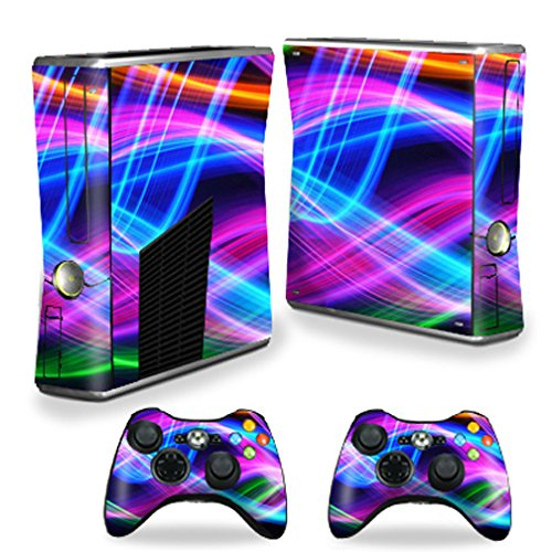 Xbox 360 Skin - MightySkins Skin For X-Box 360 Xbox 360 S console - Light Waves | Protective, Durable, and Unique Vinyl Decal wrap cover | Easy To Apply, Remove, and Change Styles | Made in the USA