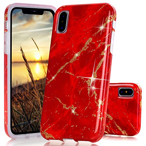 iPhone X Case, JAHOLAN Shiny Gold Spark Red Marble Design Clear Bumper TPU Soft Rubber Silicone Cover Phone Case for Apple iPhone X (Red Marble)