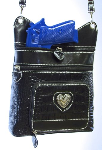 """Concealed Carry Purse - Limited Edition """"HEATHER"""" CCW handbag - Black/Black Leather by GSS"""