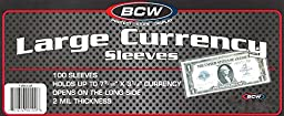 300 Ct. Large Bill Currency Coupon Sleeves Holds Items up to 7½ X 3¼ inches