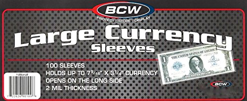 (500) US Currency Paper Money Bill Protector Sleeves for Large Older Bills by BCW