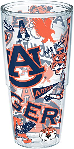 Tervis 1239075 Auburn Tigers All Over Insulated Tumbler with Wrap, 24oz, (Auburn Tigers Insulated Bottle)