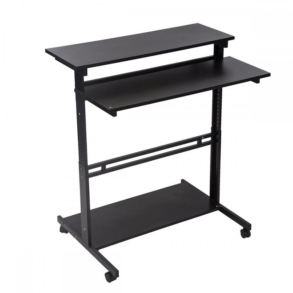 Black Home Office Adjustable Standing Desk Workstation w/Casters Tray