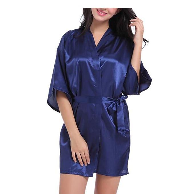 Deylaying Muchacha Kimono Robe Color sólido Seda Satín Ropa de Dormir Oblique Cuello en V Camisón Estilo Corto Lingerie Sleepwear Bata de baño para Mujer: ...