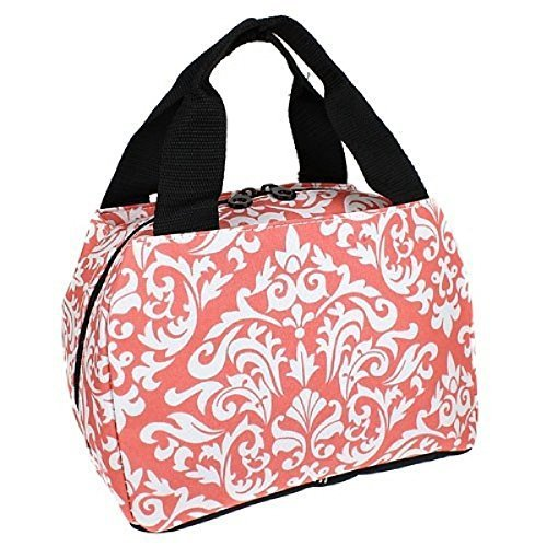 Ever Moda Girls Womens Insulated Damask Floral School Work Lunch Box Case (CORAL PEACH ORANGE)