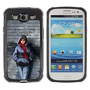 Be-Star único patrón Impacto Shock - Absorción y Anti-Arañazos Funda Carcasa Case Bumper Para SAMSUNG Galaxy S3 III / i9300 / i747 ( Badass Steet Girl )