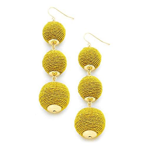 [Ginga's Galleria Triple Thread Ball Drop Earrings (Gold)] (Gold Ball Drop)