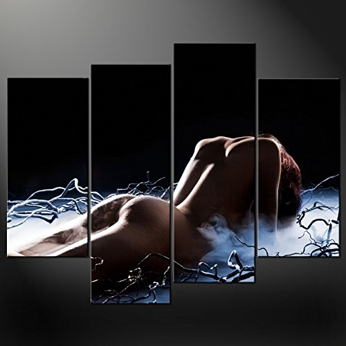 Price comparison product image Canvas Print Wall Art Paintings For Home Decor Seductive Pose Of The Female Nude 4 Pieces Panel Modern Giclee Stretched And Framed Artwork The Nude Pictures Photo Prints On Canvas For Room Decoration