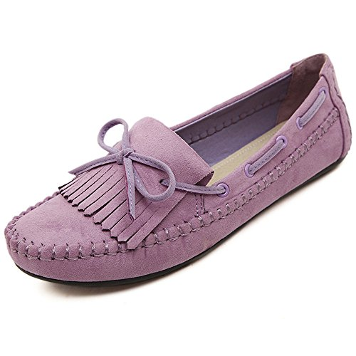 2018 Newest Sweet Bowtie PU Women Flats Loafers Driving Peas Casual Shoes (9 B(M) US, Purple) Sweet Pea Flat