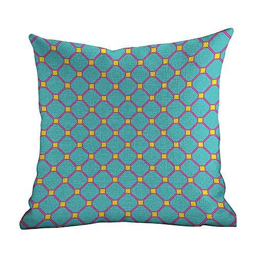 Pillow Cases for Body Pillows,Yellow and Blue,Vintage Tile Pattern in Vibrant Colors Geometrical Mosaic Design,Aqua Hot Pink Yellow,Apply to office18 x18 ()