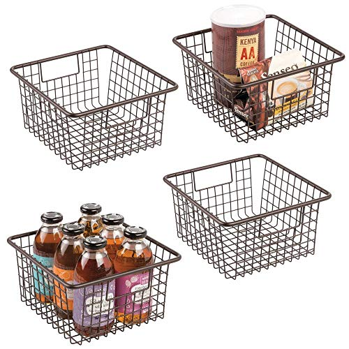 mDesign Farmhouse Decor Metal Wire Food Storage Organizer Bin Basket with Handles for Kitchen Cabinets, Pantry, Bathroom, Laundry Room, Closets, Garage - 10.25