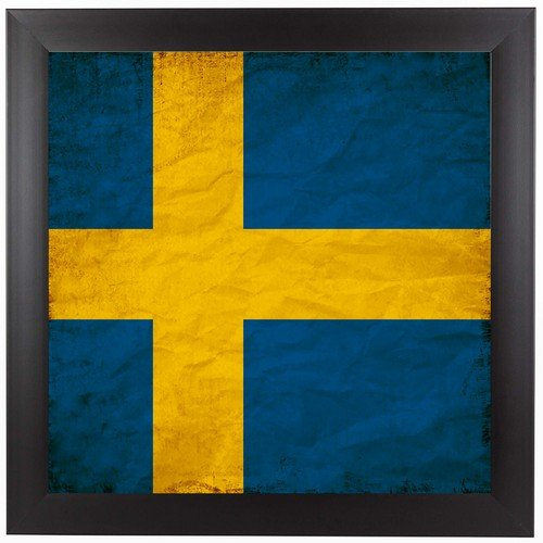 Swedish Flag Framed (Americanflat Swedish Flag Black Frame Print by Wonderful Dream, 13.5