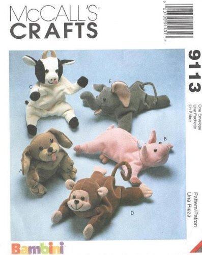 McCall's 9113 - Bambini Animal Bean Bags - 5 Patterns Bean Bag Sewing Pattern