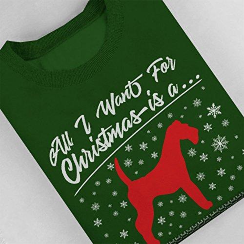 Coto7 Christmas I Green For All Want Bottle Sweatshirt Schnauzer Women's rRgqrwFCx