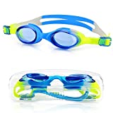 Amazer Kids Child Swim Goggles, Kid Child Swimming Goggles with Clear Vision Anti Fog UV Protection No Leak Come Easy to Adjust with Free Protection Case for Kids Child Early Teens