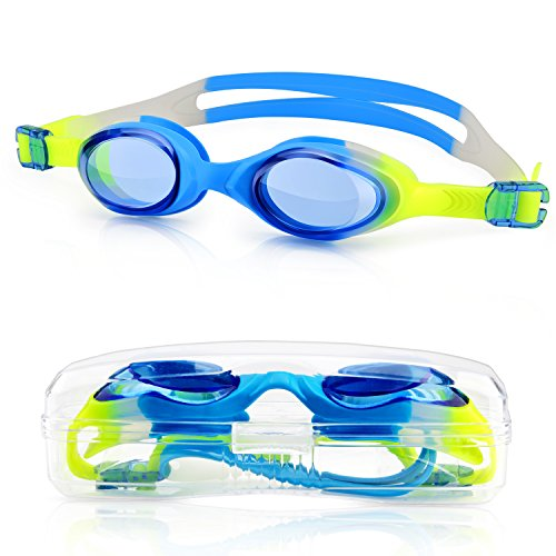 Kids Child Swim Goggles, Amazer Kid Child Swimming Goggles with Clear Vision Anti Fog UV Protection No Leak Come Easy to Adjust with Free Protection Case for Kids Child Early Teens
