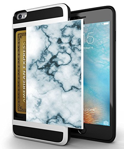 Credit Card ID Holder Wallet Case For iPhone 6S/6 Dual Slim Shock-Resistant Hybrid Armor Case - Holds 2 Cards & Cash By Corpcase. Designer ID CARD Slider Grey White Marble Granite Mosaic Pattern
