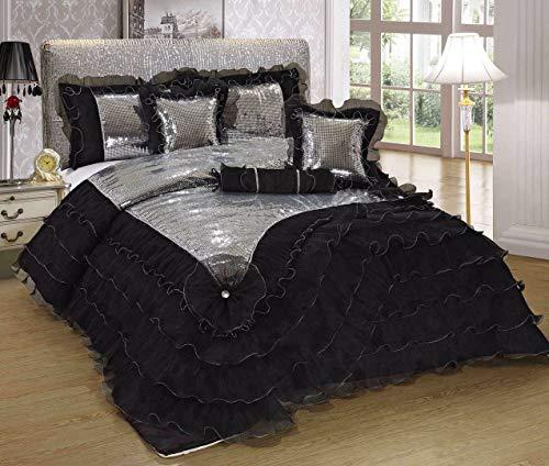 Tache Home Fashion 1622-Q Comforter Set, Queen, Black