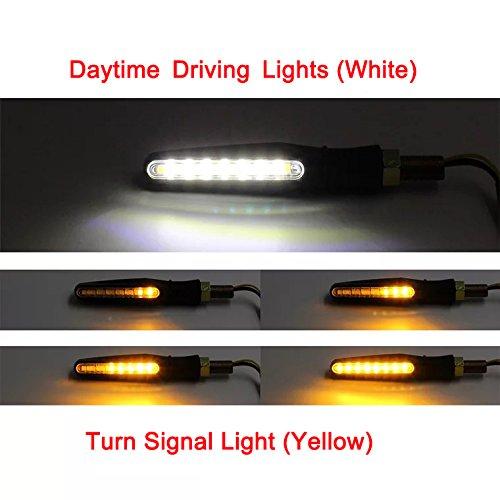 4 pcs intermitentes moto //15 LED Luz de se/ñal de giro//Luz de circulaci/ón diurna//Delanteros y traseros 4 direccionesPatr/ón de flujo secuencial Ejecuci/ón de efecto intermitente