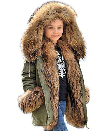 Aofur Kids Girls Boys Winter Hooded Trench Coat Jacket Parka Thick Outerwear Faux Fur Warm Children Long Clothes