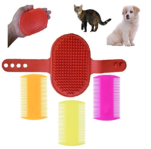 FurBetter & FurBest Pet Grooming Collection - Dematting Deshedding Tool for Loose Undercoat Tangles Mats and Knots - Rake Brush Comb for Dog Fur & Cat Hair (Red Palm Brush + 3 Combs Pack)