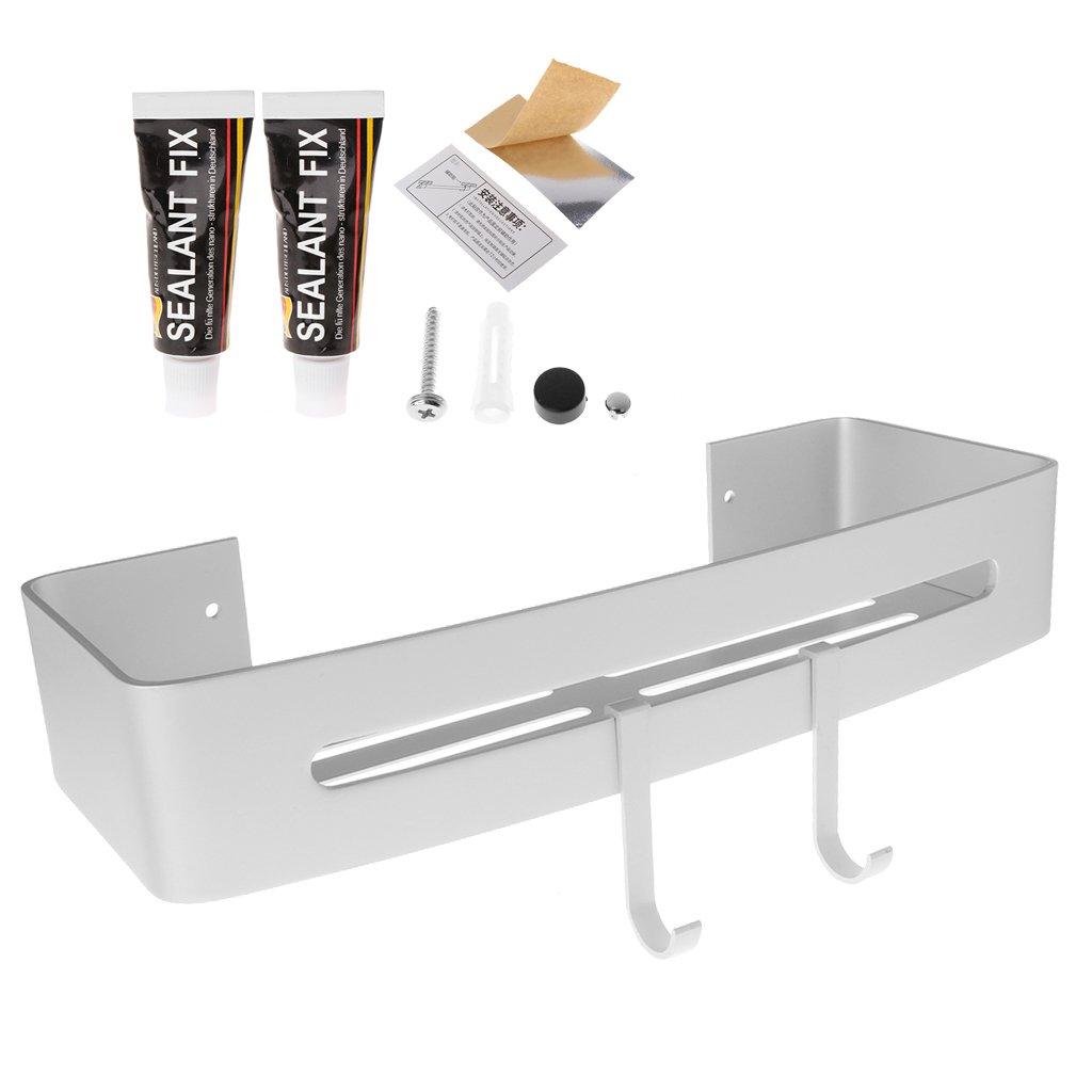 Bogji Aluminium adhésif étagère de salle de bain étagère murale de salle de bain à suspendre Organiseur de rangement facile installer pour cuisine/douche, Aluminium, Noir , 6x13x32.5cm/ 2.36x5.12x12.8in