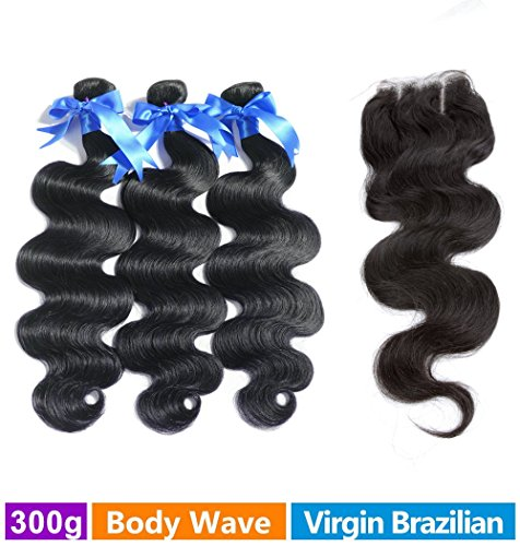 Rechoo Brazilian Virgin Remy Body Wave Hair 3 Bundles 300g with 4x4 Lace Closure Human Hair Extensions Bundles with Three Part Closure(16 16 16+14) (Lilac Bundles)