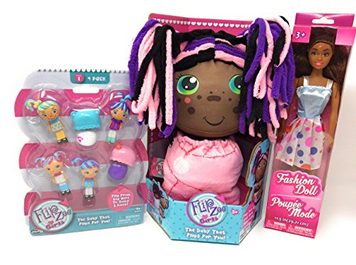 Homemade Ariel Costume - Flip Zee Girls African American Zuri Kitty Cat Sweet and Cuddly 2-in-1 Plush Doll BONUS Flipzee girls mini babies (Dolls vary) series 1 pack of four! Zuri and 1 Fashion Doll