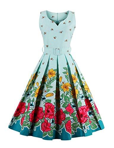 Swing Robe Verte Robe 1950s avec Ceinture Floral Imprim Femme Clair Fleurs Vintage Line A Robe Soire de Rtro VKStar fEwqapw
