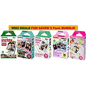 Fujifilm Instax Mini Instant Film 5 Pack BUNDLE, Candy Pop, Stained Glass, Stripe, Shiny Star, Single pack : 10 sheets X 5 Pack Assort Bundle = 50 Sheets! BONUS-FREE Wiki Deals Colorful Micro Fiber Cloth!