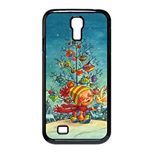 Merry Christmas - Christmas Tree With Star & Snowflake Image Snap On Hard Plastic SamSung Galaxy S4 I9500 Case
