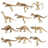 Dovewill Pack of 12 Plastic Dinosaur Skeletons Model Figures Great Party Loot Bag Fillers Children Kids Xmas Gifts Home Ornaments