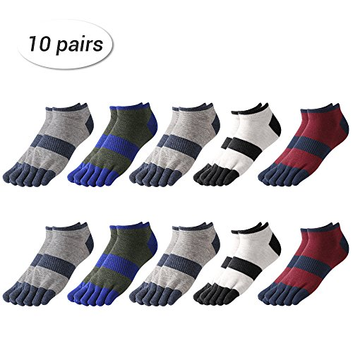 Toe Ankle Socks (NEX 10 Pairs Cotton Five Finger Toe Sock Wicking Striped Ankle Socks Patterned Colorful Comfort Fit Low Cut Socks)