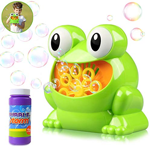 HOMOFY Automatic Bubble Blower Electric Bubble Maker Rich Bubble Over 500 Bubbles Per Minute with 1 Bottle Durable Solution Gifts Toys for 2 3 4 5 Year Old Boys/Girls/Kids,Outdoors&Party&Wedding