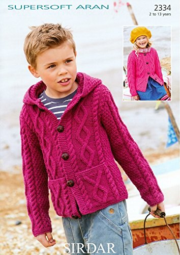 Sirdar Childrens Cardigans Supersoft Knitting Pattern 2334 Aran Sirdar Yarn Patterns