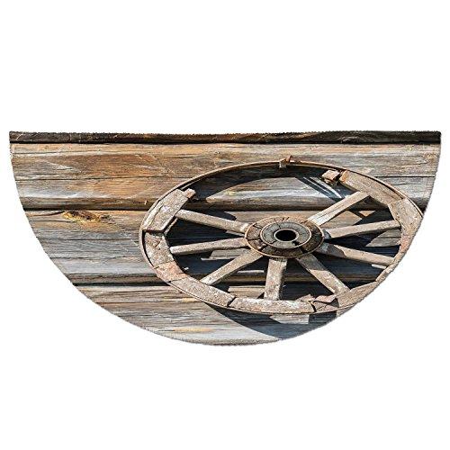 Wagons Cartwheels - Half Round Door Mat Entrance Rug Floor Mats,Barn Wood Wagon Wheel,Old Log Wall with Cartwheel Telega Rural Countryside Themed Image Decorative,Umber Beige,Garage Entry Carpet Decor for House Patio Gra