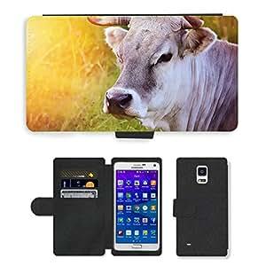 CARD POCKET BOOK CASE PU LEATHER CASE // M00103788 Vaca Animal Beef Cattle Ganadería // Samsung Galaxy Note 4 IV