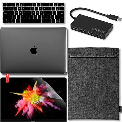 GMYLE 5 in 1 MacBook Pro Touch Bar 13 Inch A1989/A1706/A1708 (2016,2017,2018 Release) Bundle, USB C Hub Adapter, Hard Case, Carrying Sleeve with Handle, Keyboard Cover & Screen Protector - Black