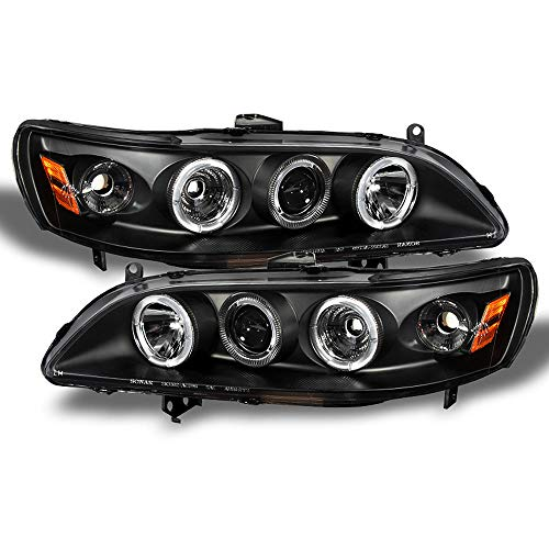 ACANII - For 1998-2002 Honda Accord LED Halo Ring Black Housing Projector Headlights Headlamps, Driver & Passenge Side
