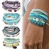 Adramata Bohemian Stackable Bead Bracelets for Women Girls Stretch Multilayered Bracelet Set