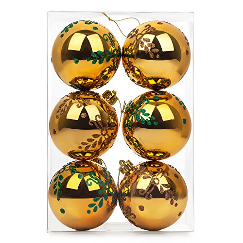 Christmas Ball Ornaments, 6ct Delicate Pine Leaf Painting Shatterproof Xmas Gold Balls Decorative Hanging Ornaments Baubles Set for Xmas Tree, 80mm/3.15